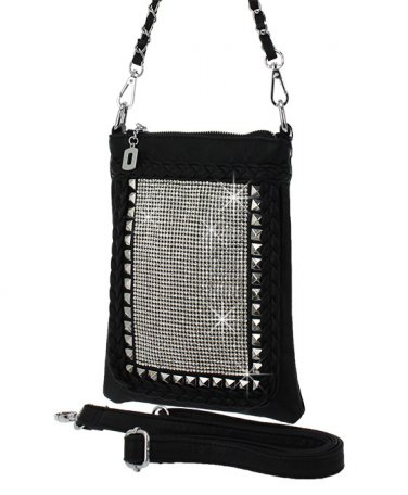 Black Rhinestone Crystal Studded Sparkling Cross Body Handbag