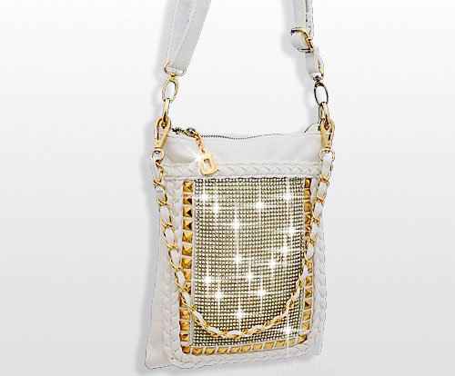 Rhinestone Crystal Studded Sparkling Cross Body Handbag White Gold