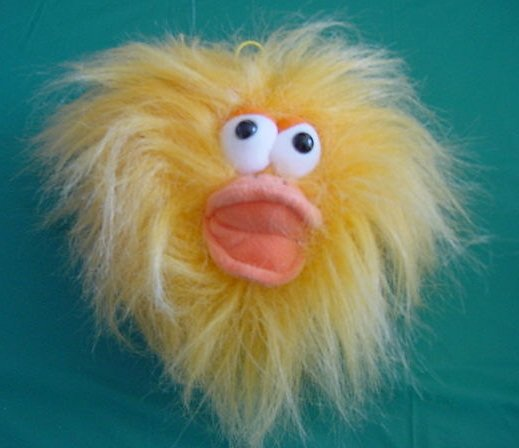 Furr Ballz Laughing Jiggle Ball Fuzzy Orange Bird Plush