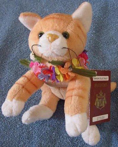 "Hawaiian Collectibles Tabby Cat in Lei Beanie Plush 8""Nihi"