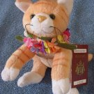 "Hawaiian Collectibles Tabby Cat in Lei Beanie Plush 8""Nihi"