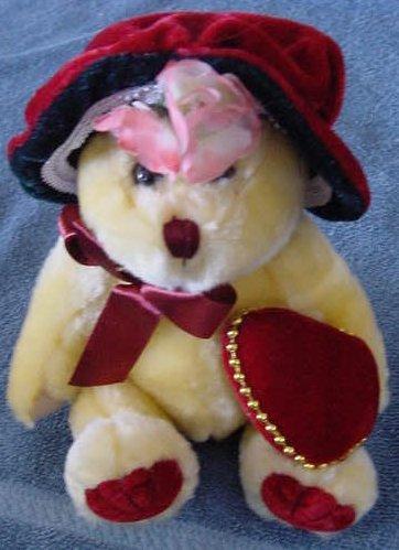"""PBC International Yellow Bear Red Hat Stuffed Plush 7"""""""