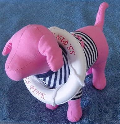 "Victoria's Secret SS Pink Dog Sailor Stuffed Plush 7"""