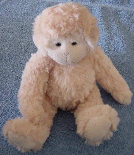 "Happy Design Beige Fluffy Monkey Stuffed Plush 6"""
