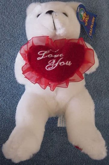 Calplush White Bear I Love You Heart Stuffed Plush 9""