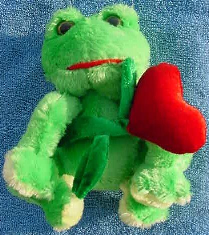 """DanDee Green Frog Heart Flower Stuffed Plush 6"""""""