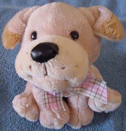 "Fiesta Sitting Beige Puppy Dog Stuffed Plush 6"""