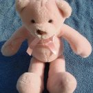 "Cute Pink Sitting Bear Stuffed Plush 8.5"" Brown Nose"