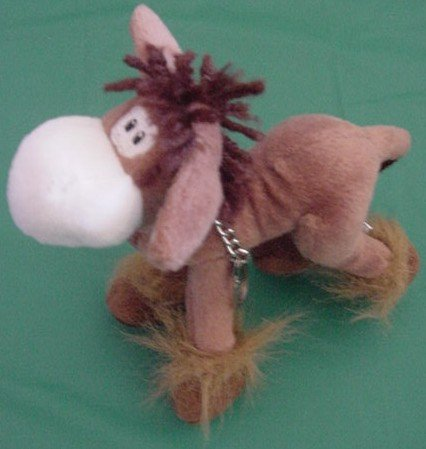 KeyChain Clip Bendy Brown & White Horse Stuffed Plush