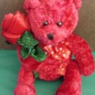 Kids of America Red Bear with Rose Stuffed Plush 6""