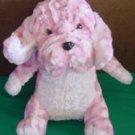 """King Plush Pink Chenille Hound Dog Stuffed Plush 7.5"""""""