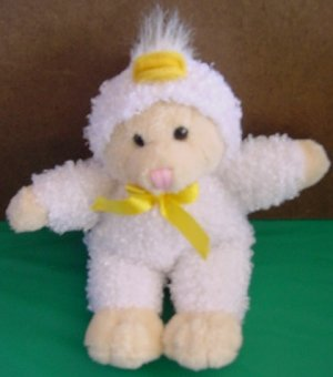 DanDee Beige Bear in White Duck Suit Stuffed Plush 9""