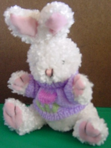 DanDee White Bunny Purple Tulip Sweater Stuffed Plush