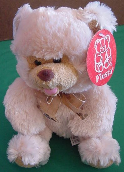 Fiesta Biege Sitting Bear Paw Print Stuffed Plush 8""