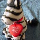 """Wild About You Zebra Valentine's Stuffed Plush 7"""""""