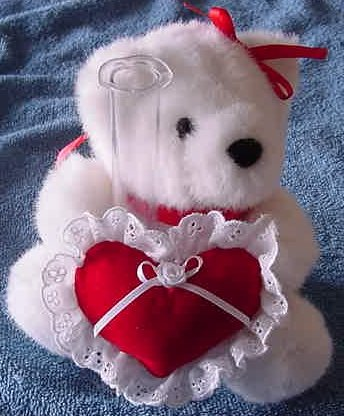 "Joelson White Bear & Heart Bud Vase Stuffed Plush 6"""