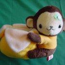"Laurel Gift House Monkey with Banana Beanie Plush 4"""