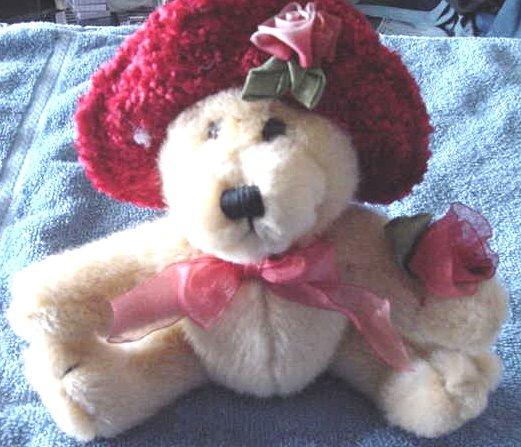 """Light Brown Bear Roses & Hat Stuffed Plush 6.5"""" Cute"""