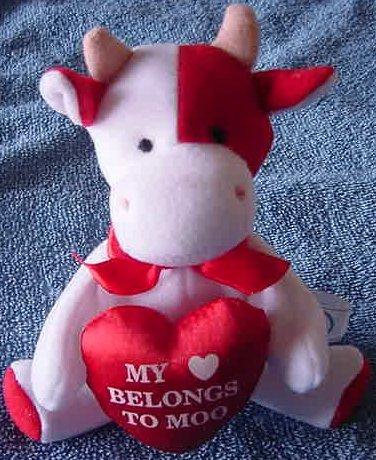 "My Heart Belongs to Moo Cow Mini Beanie Plush 5"" JE Co."