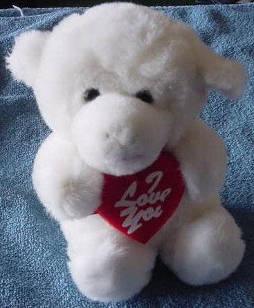 """Plush Image White I Love You Monkey or Dog Stuffed 7"""""""