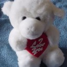 Plush Image White I Love You Monkey or Dog Stuffed 7""