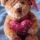 Aurora Valentine Bear Sparkle Heart Stuffed Plush 7""