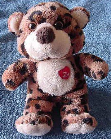 "Aurora Valentine Leopard Cat Be Mine Beanie Plush 6"""