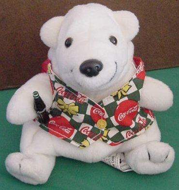 "Coca Cola Polar White Bear in Vest Beanie Plush 5"" 1998"