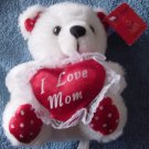 "I Love Mom White Bear Valentine's Stuffed Plush 5"" Tag"