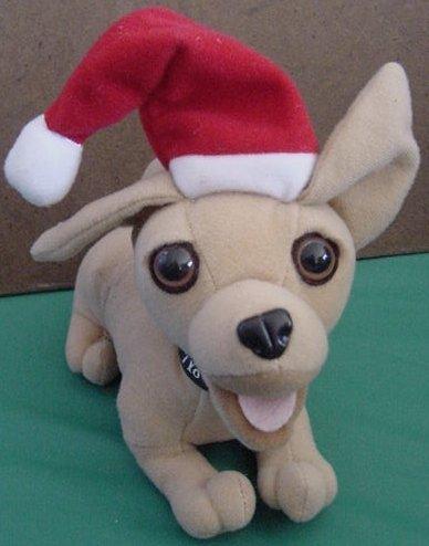 "Feliz Navidad Taco Bell Chihuahua Talking Dog Plush 6"" Santa Hat"
