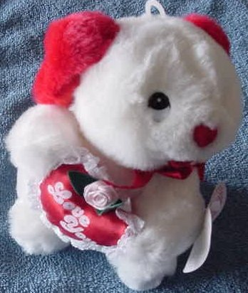 """Aceview White Dog Lacey Love You Heart Stuffed Plush 6"""""""