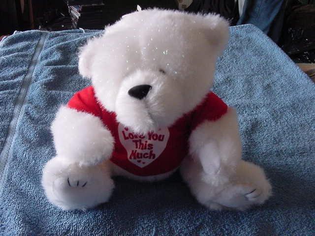 """AGC Inc White Love You This Much Bear Stuffed Plush 7"""""""