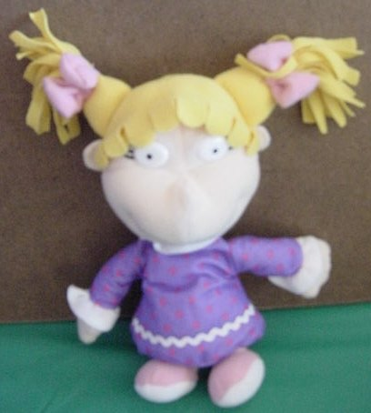 "Rugrats Angelica Purple Dress Beanie Doll Plush 7"""