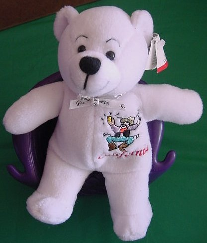 Symbolz California Republic White Bear Beanie Plush 6""