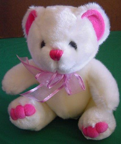 """Kids of America White & Pink Bear Stuffed Plush 8"""""""