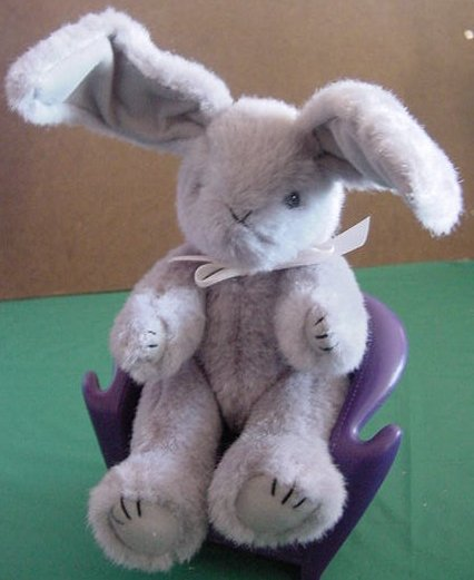 Gray Jointed Bunny Rabbit Long Ears Stuffed Plush 8""