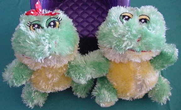 "DanDee Kissing Talking I Love You Frog Pair Stuffed Plush 5.5"""