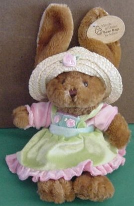 """Plushland Brown Bunny Straw Hat Beanie Plush 8"""" Tag March of Dimes"""