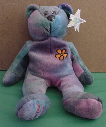 "Classic Collecticritters Love Tie Dye Bear Stuffed Plush 9"" Beanie"
