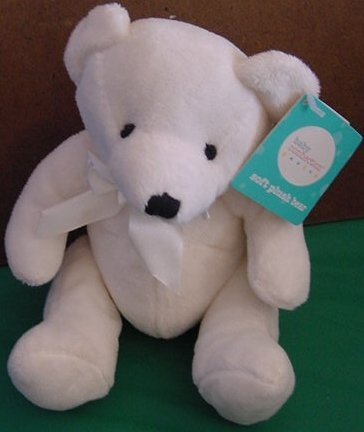 Baby Connection White Soft Bear Tag Stuffed Plush 6""