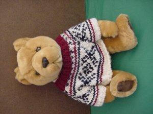 """JC Penney Light Brown Bear in Sweater Stuffed Plush 9"""""""