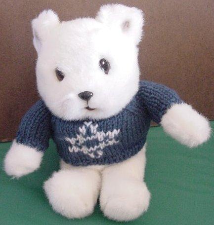 Gibson Greetings White Bear Blue Sweater Stuffed Plush