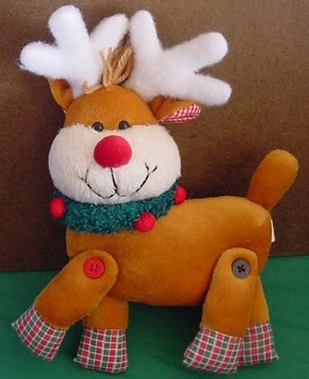 """Giftco Reindeer Jointed Wreath Neck Stuffed Plush 8"""""""
