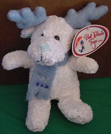 """Best Made Toys White Reindeer Scarf Stuffed Plush 7"""""""