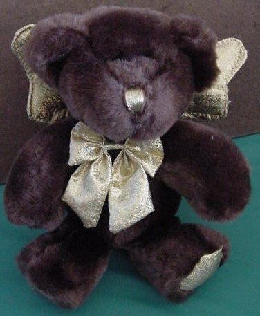 Dark Brown Angel Bear Gold Sparkle Wings Stuffed Plush