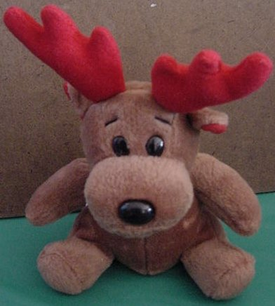 "GAC Christmas Reindeer Brown Beanie Plush 5"" Red Antler"