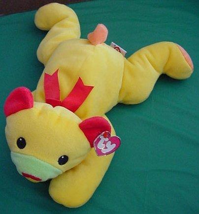 "Ty Huggy Bear Yellow Pillow Squishy Stuffed Plush 14"""