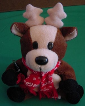 ba133aa323e Coca Cola Reindeer Red Scarf Beanie Stuffed Plush 6