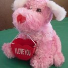 "Pink Puppy Dog I Love You Holder Stuffed Plush 8"" Soft"