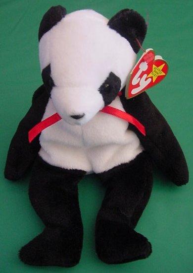 "Ty Beanie Baby Fortune Panda Bear Tag 5"" Stuffed Plush"